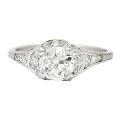 Art Deco 1.58 Carats Diamond Platinum Engagement Ring