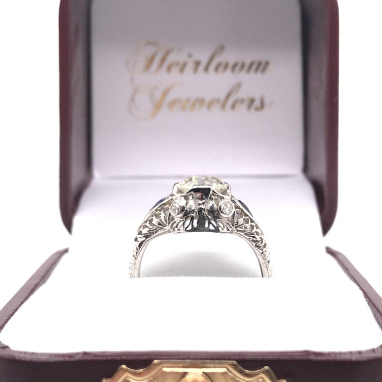 Art Deco 1.59 Carat Diamond & Sapphire Platinum Engagement Ring For Sale 5