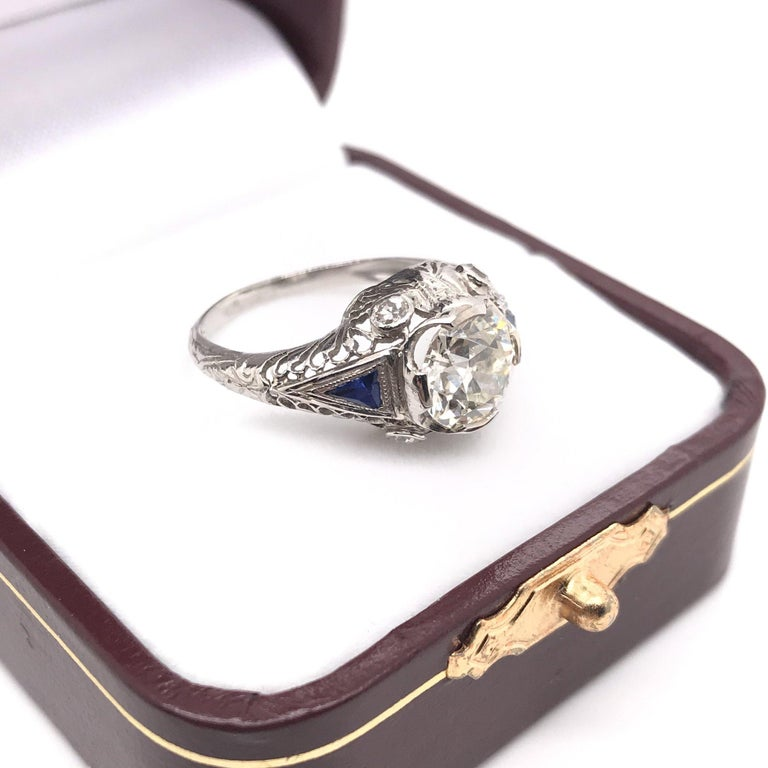 Art Deco 1.59 Carat Diamond & Sapphire Platinum Engagement Ring For Sale 9