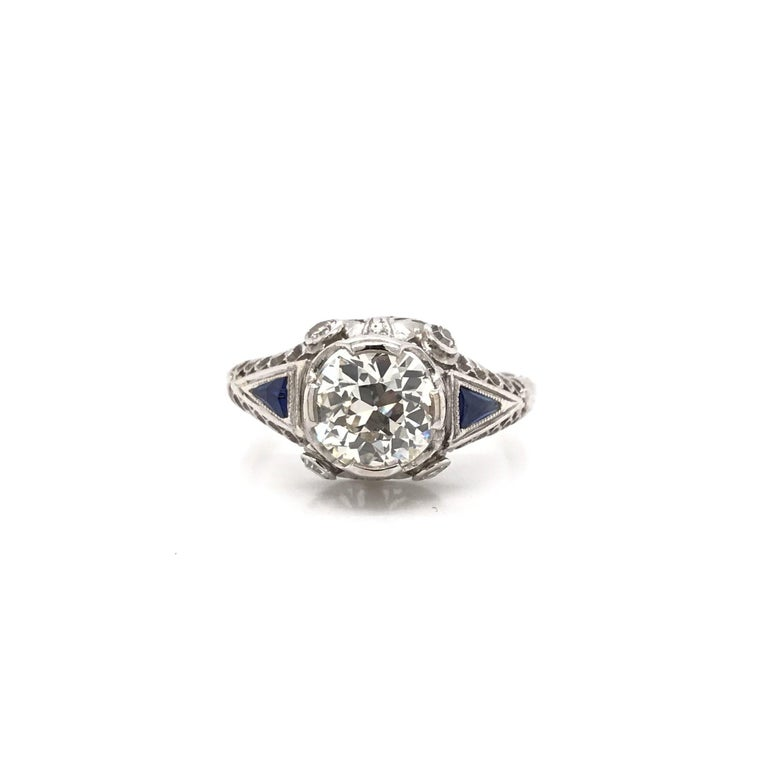 Art Deco 1.59 Carat Diamond & Sapphire Platinum Engagement Ring In Good Condition For Sale In Montgomery, AL