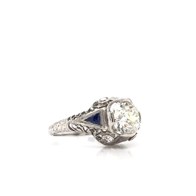 Women's or Men's Art Deco 1.59 Carat Diamond & Sapphire Platinum Engagement Ring For Sale