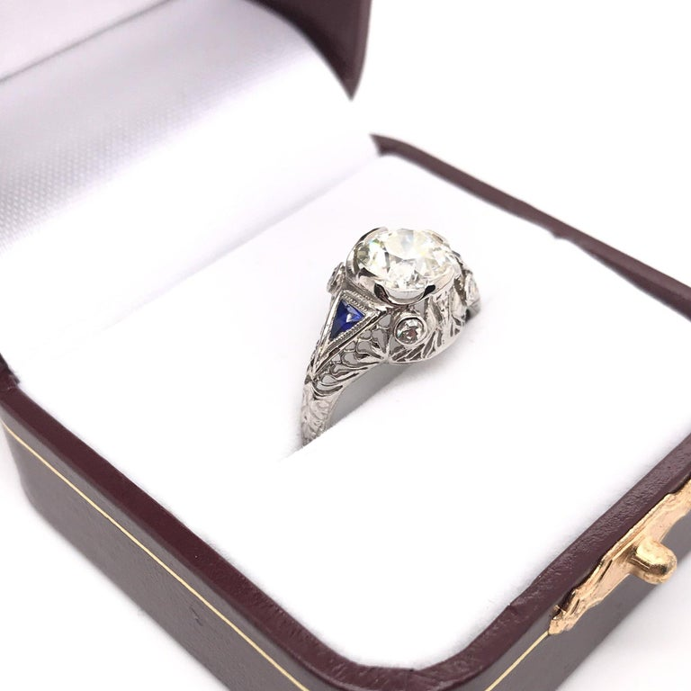 Art Deco 1.59 Carat Diamond & Sapphire Platinum Engagement Ring For Sale 4