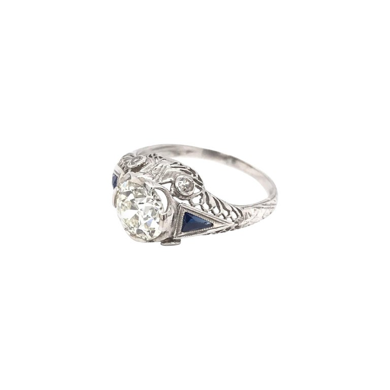 Art Deco 1.59 Carat Diamond & Sapphire Platinum Engagement Ring For Sale
