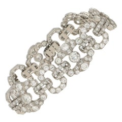 Art Deco Diamond Panel Bracelet Set in Platinum, 1920's