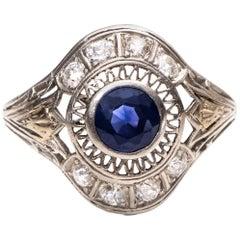 Art Deco 1.5ctw Blue Sapphire & Old European Cut Platinum Filigree Cocktail Ring