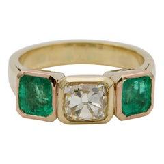 Art Deco 1.60 Ct Fancy Yellow Old Mine Diamond 3.30 Ct Colombian Emerald Trilogy