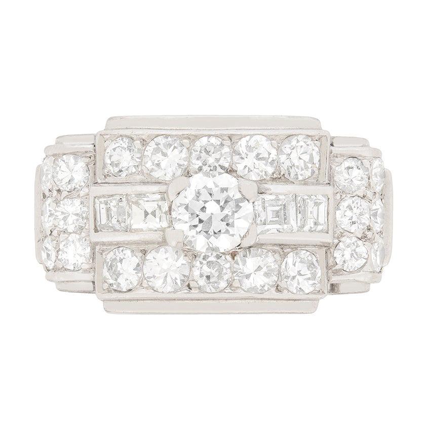 Art Deco 1.60ct Diamond Cluster ring, c.1930s