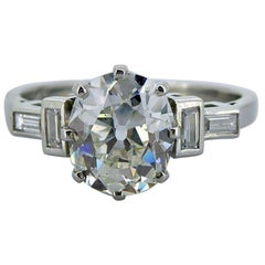 Art Deco 1.61 Carat Old European Cut Diamond Solitaire Ring, Platinum Band
