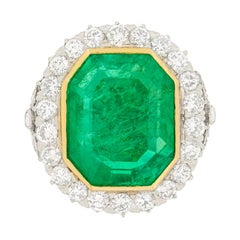 Art Deco 16.10 Carat Colombian Emerald and Transitional Cut Diamond Halo Ring