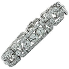 Art Deco 16.32 Carat Old European Cut Diamond Bracelet