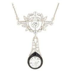 Art Deco 1.65 Carat Diamond and Onyx Drop Pendant Necklace, circa 1920s