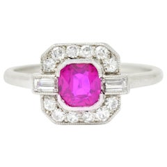 Art Deco 1.65 Carat No Heat Burma Ruby Diamond Platinum Halo Ring GIA