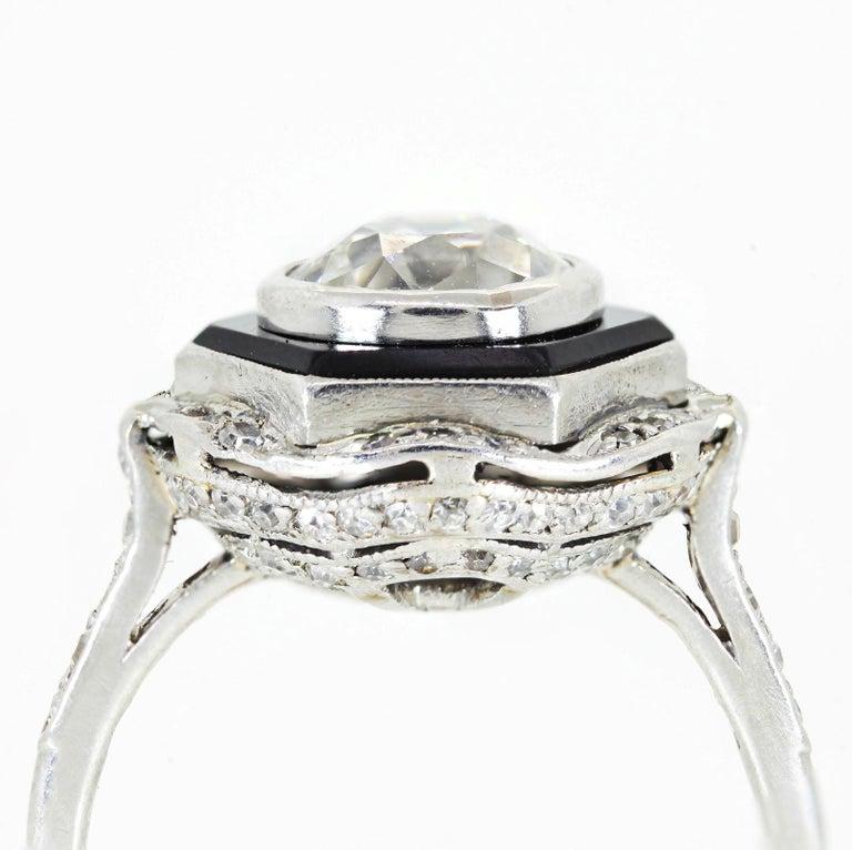 Women's Art Deco 1.65 Carat Old European Cut Diamond Platinum Ring For Sale