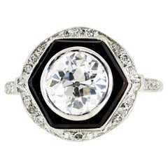 Art Deco 1.65 Carat Old European Cut Diamond Platinum Ring
