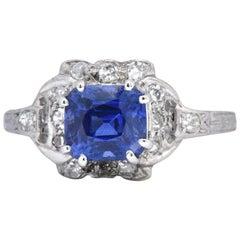 Art Deco 1.67 CTW Unheated Kashmir Sapphire Diamond & Platinum Ring AGL