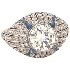 Art Deco 1.68 Center Diamond Platinum Sapphires Engagement Ring
