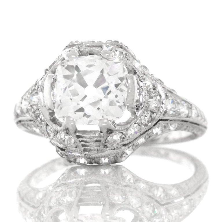 Art Deco 1.68ct Diamond Platinum Engagement Ring For Sale 5