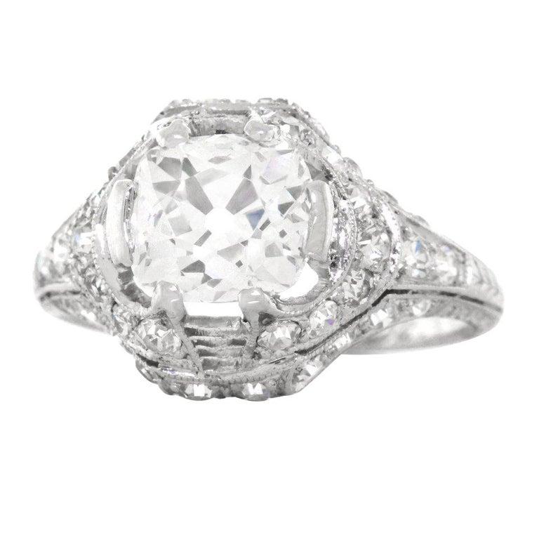 Art Deco 1.68ct Diamond Platinum Engagement Ring For Sale