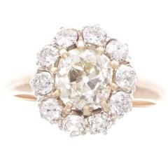 Art Deco 1.69 Carat Old Cushion Cut Diamond Platinum Gold Cluster Ring