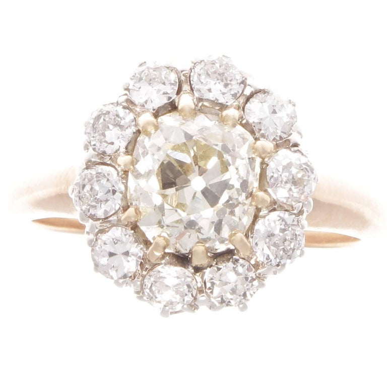 Art Deco 1.69 Carat Old Cushion Cut Diamond Platinum Gold Cluster Ring