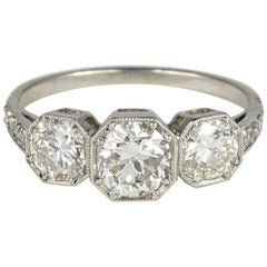 Art Deco 1.70 Carat Diamond Platinum Trilogy Ring