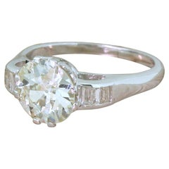 Art Deco 1.70 Carat Old Cut Diamond Engagement Ring