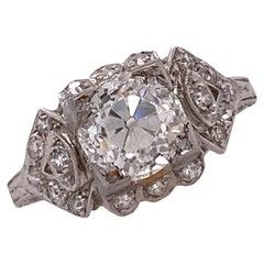 Art Deco 1.70 Carat Old Mine Cut Diamond Platinum Engagement Ring GIA