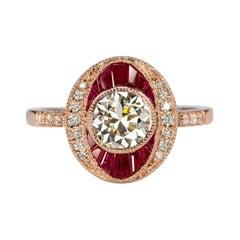 Art Deco 1.70 Carat Ruby Diamond Rose Gold Ring