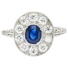 Art Deco 1.70 Carat Sapphire Diamond Platinum Halo Dinner Ring