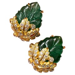 Certified Art Deco Style 17.01 Carat Carved Emerald and Diamond Studs