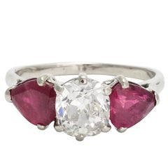 Art Deco 1.71 Carat Cushion Cut Diamond Ruby Three-Stone Ring