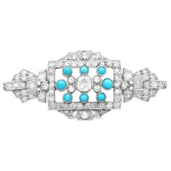 Art Deco 1.71 Carat Diamond Turquoise and White Gold Brooch