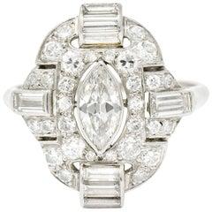 Art Deco 1.72 Carat Marquise Diamond Scrolling Pave Dinner Ring, circa 1930