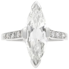 Art Deco 1.74 Carat GIA Marquise Cut Diamond Engagement Ring