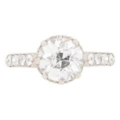 Art Deco 1.76 Carat Diamond Solitaire Engagement Ring, circa 1920s