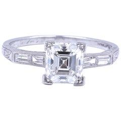Art Deco 1.77 Carat Emerald Cut Diamond Platinum Engagement Ring
