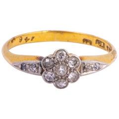 Art Deco 18 Carat Gold and Platinum Diamond Cluster Ring
