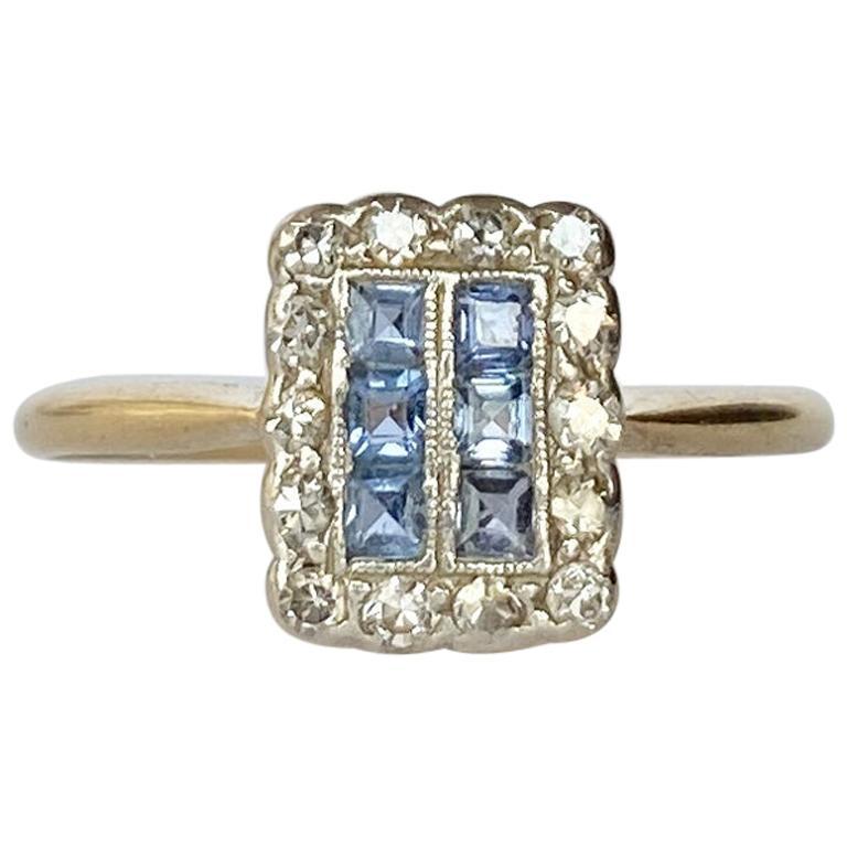 Art Deco 18 Carat Gold and Platinum Sapphire and Diamond Panel Ring