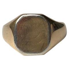 Art Deco 18 Carat Gold and Platinum Signet Ring