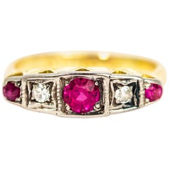 Art Deco 18 Carat Gold Diamond and Ruby Five-Stone Ring