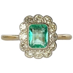 Art Deco 18 Carat Gold Emerald and Diamond Cluster Ring