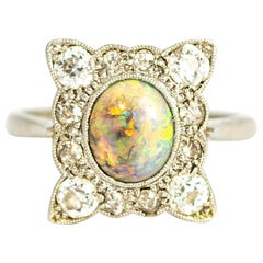 Art Deco 18 Carat Gold and Platinum Opal and Diamond Panel Ring