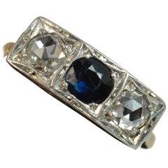 Art Deco 18 Carat Gold Platinum Sapphire and Rose Cut Diamond Trilogy Ring