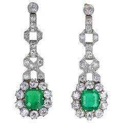 Art Deco 18 Carat Platinum Colombian Emerald Diamond Drop Earrings