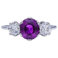 Art Deco, 18 Carat White Gold Rare Natural Purple Sapphire and Diamond Ring