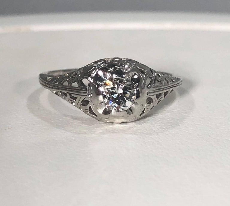 Art Deco 18 Karat .29 Carat Old European Cut Diamond Solitaire Engagement Ring For Sale 6