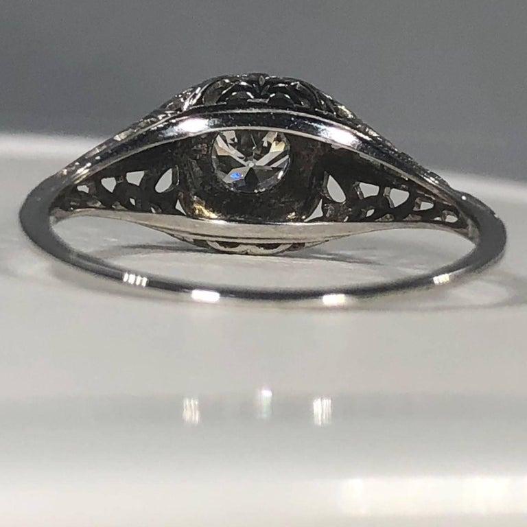 Art Deco 18 Karat .29 Carat Old European Cut Diamond Solitaire Engagement Ring For Sale 7