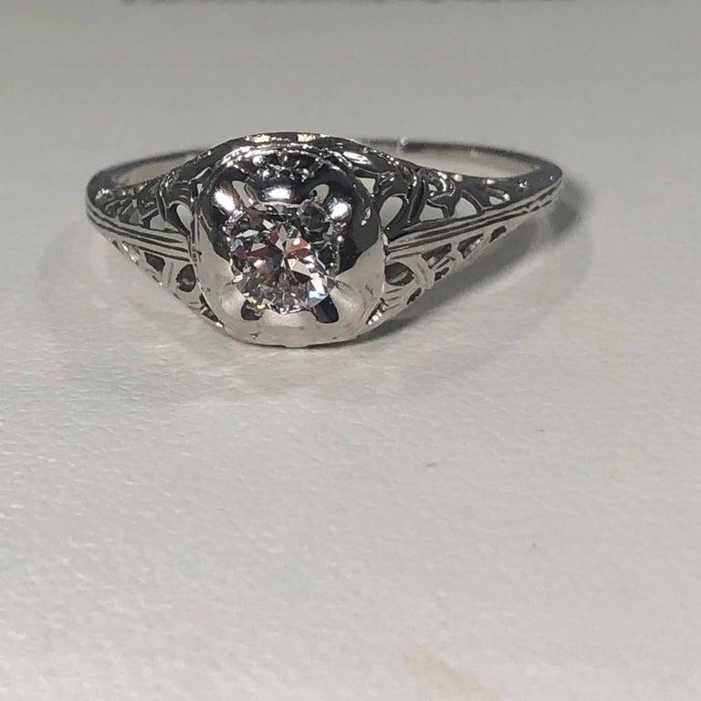 Art Deco 18 Karat .29 Carat Old European Cut Diamond Solitaire Engagement Ring For Sale 1