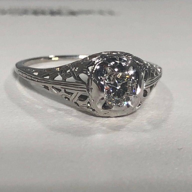 Art Deco 18 Karat .29 Carat Old European Cut Diamond Solitaire Engagement Ring For Sale 2