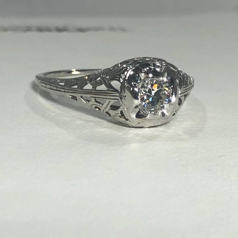 Art Deco 18 Karat .29 Carat Old European Cut Diamond Solitaire Engagement Ring For Sale 4